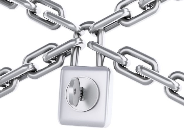 Corrente 3d com cadeado. conceito de segurança.