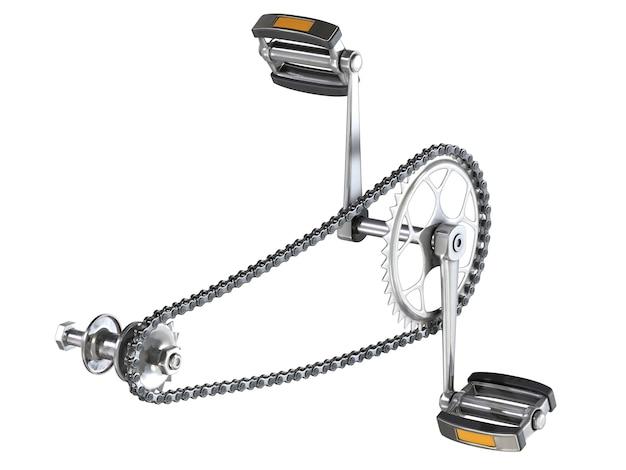 Corrente de bicicleta com pedais