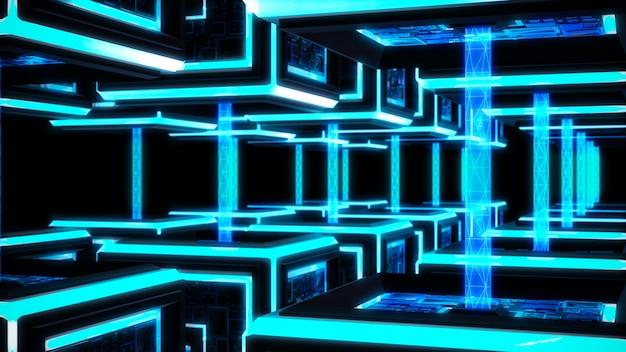 Corrente de bloco, fundo moderno da tecnologia de sci fi.