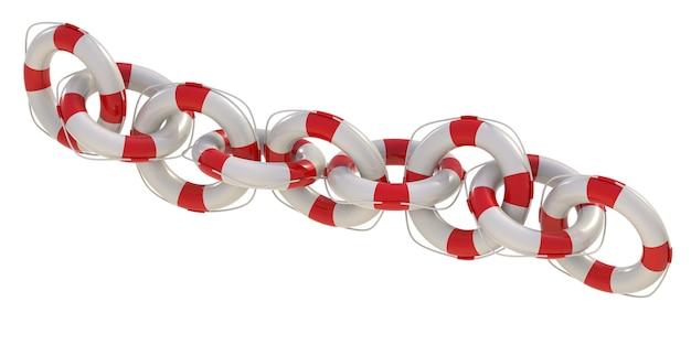 Corrente de bóia de vida vermelha em fundo branco isolado.
