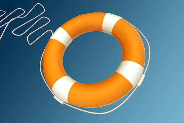 Corrente de bóia salva-vidas amarela em fundo azul isolado