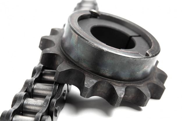Corrente de rolo e roda dentada em branco