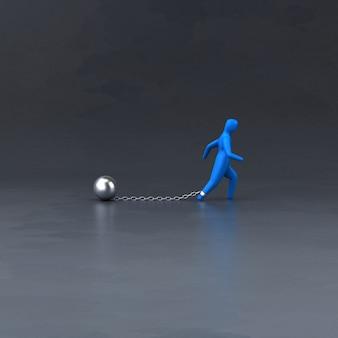 Corrente e bola - ilustração 3d