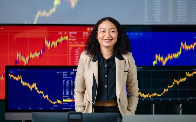Corretor profissional de sucesso feminino corretor investidor sorriso colocar as mãos no bolso da calça olhar para a câmera na frente da tela do monitor do computador com análise de gráfico de criptomoeda de ações e bitcoin.