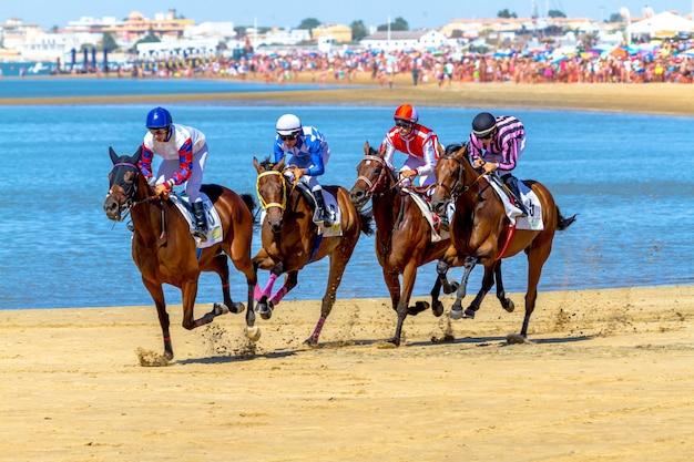 Corrida de cavalos em sanlucar de barrameda, espanha, 2016
