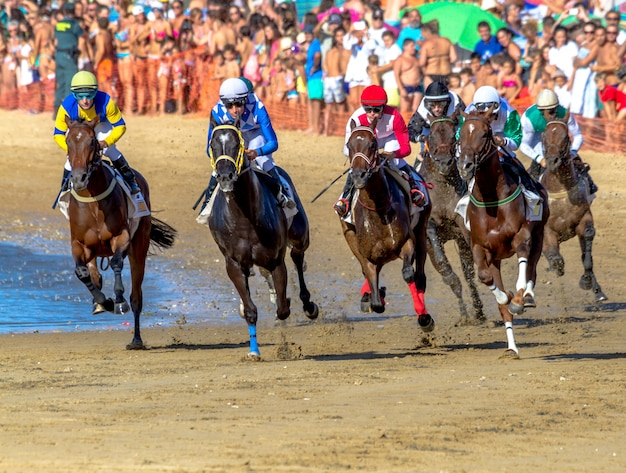 Corrida de cavalos em sanlucar de barrameda, espanha
