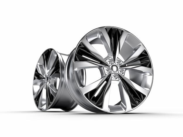 Corridas em alumínio com aro de roda. ilustração de renderização 3d.