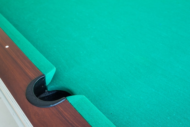 Corrner do furo do snooker da tabela.