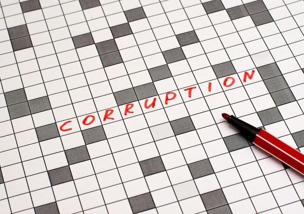 Corrupção. texto em palavras cruzadas. letras vermelhas