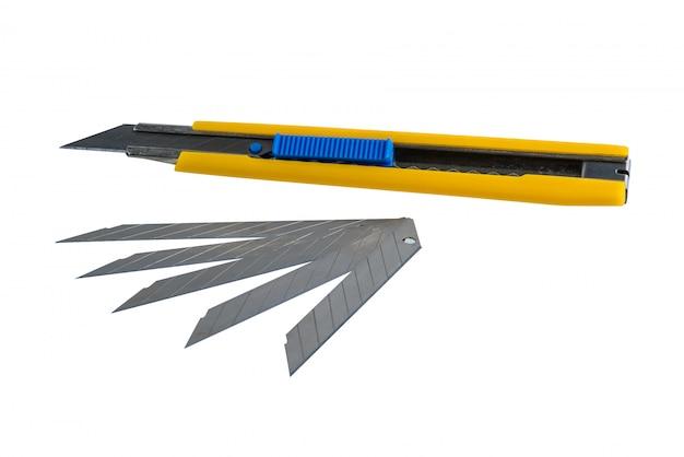 Cortador de caixa amarela, alça do cortador de papel com riscos de uso