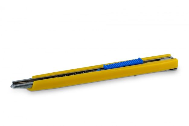 Cortador de caixa amarelo, alça de cortador de papel com arranhões de uso