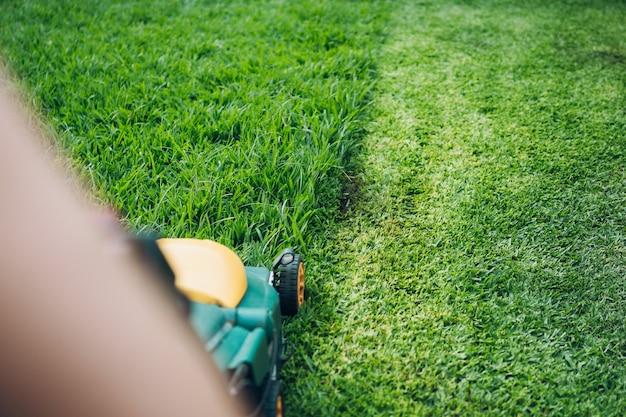Cortador de grama cortando o gramado mais alto de um jardim