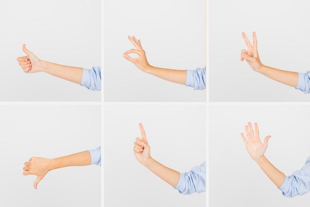 Cortar as mãos mostrando gestos