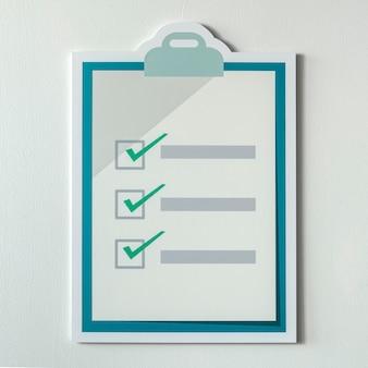 Cortar o ícone da lista de verificação de papel
