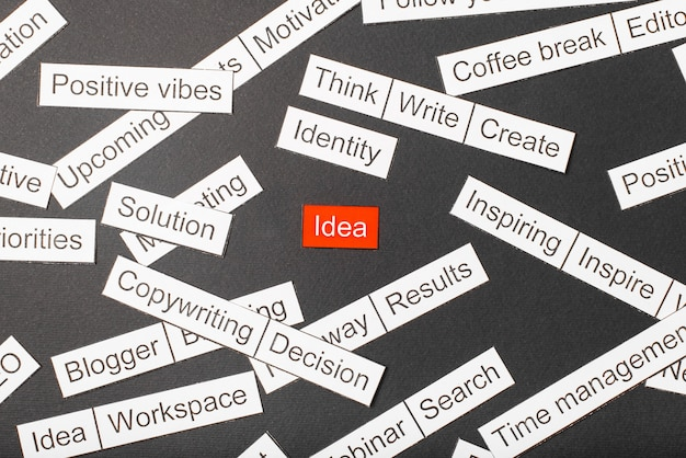 Corte a ideia de inscrição de papel na cor vermelha, rodeada por outra inscrição. conceito de nuvem de palavras.