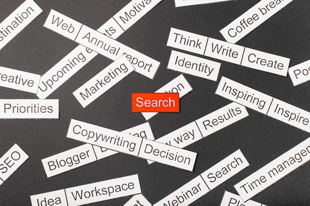 Corte a pesquisa de inscrição em papel em um fundo vermelho, cercado por outras inscrições em um fundo escuro. conceito de nuvem de palavras.