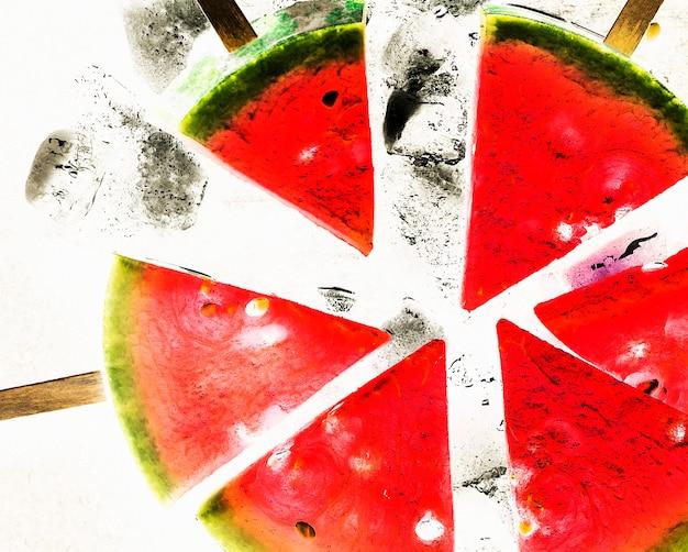 Corte de melancia em palitos na hora