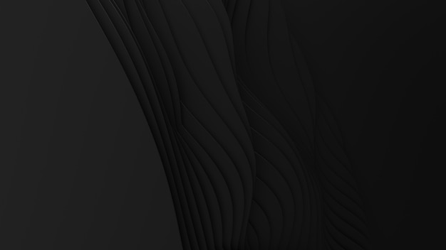 Corte de papel abstrato. 3d arte escultura escura limpa. ondas pretas de artesanato de papel. design moderno minimalista para apresentações de negócios.