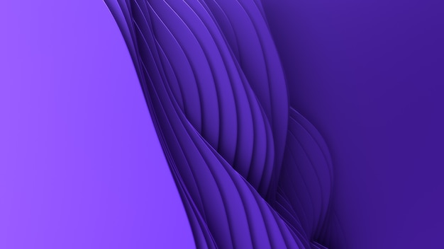 Corte de papel abstrato. 3d arte escultura violeta limpa. ondas coloridas de artesanato de papel. design moderno minimalista para apresentações de negócios.