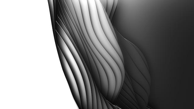 Corte de papel abstrato base monocromático. 3d arte escultura escura limpa. ondas pretas de artesanato de papel. design moderno minimalista para apresentações de negócios.