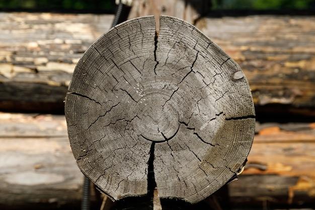 Corte de um close-up de tronco em uma casa de madeira. foto de alta qualidade