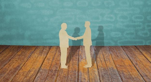 Corte do papel de negócio dois homem mão trepidação