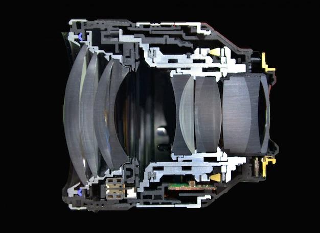 Corte, haft, seção transversal, lente câmera, isolado, ligado, pretas