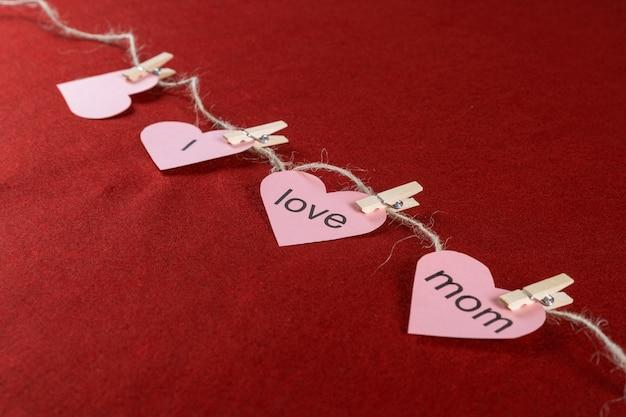 Corte, mãe, dia, corações, corda