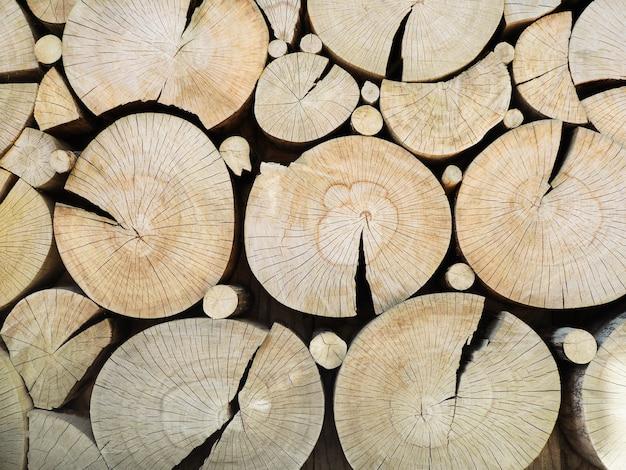 Corte o padrão de troncos de madeira. parede decorativa com tocos de árvore redondos