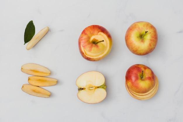 Cortes de maçã vista superior