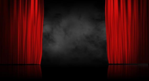 Cortina de palco vermelho com fundo de fumo