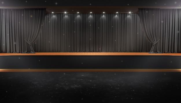 Cortina preta e um holofote. cartaz do show da noite do festival