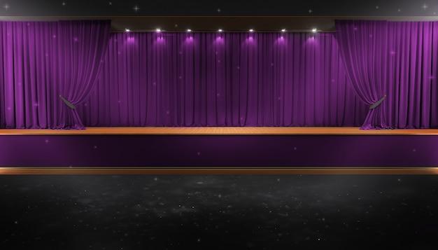 Cortina roxa e um holofote. cartaz do show da noite do festival