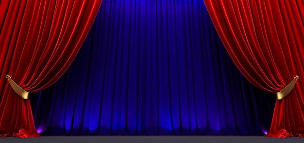Cortina vermelha e azul, cortina de teatro e palco com iluminação dramática