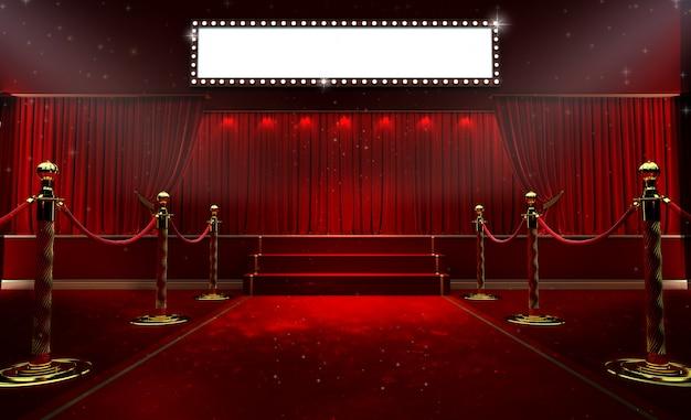 Cortina vermelha e um holofote. cartaz do show da noite do festival