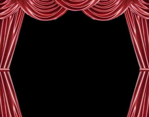 Cortina vermelha isolada em preto