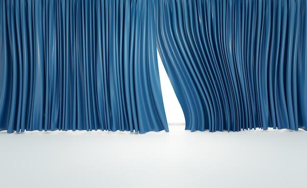 Cortinas azuis com piso de madeira em salas de cinema ou home theater, renderização de ilustrações 3d