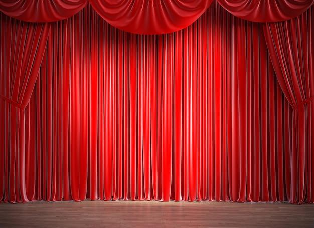 Cortinas de cetim vermelhas e piso de madeira. renderização 3d.