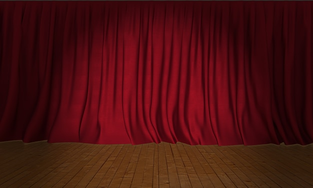 Cortinas de seda vermelha em fundo de palco de madeira com holofote