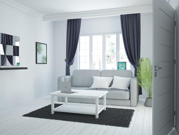 Cortinas de veludo escuro em aconchegante quarto branco com sofá