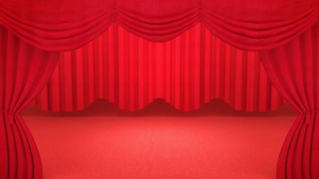 Cortinas vermelhas de teatro
