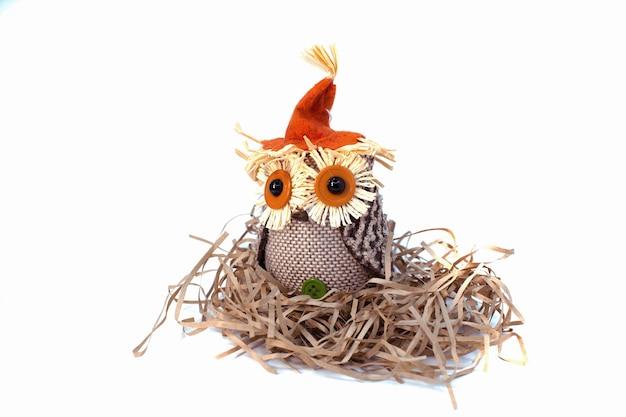 Coruja fofa no ninho para o tema de ação de graças e halloween. decorações de outono isoladas