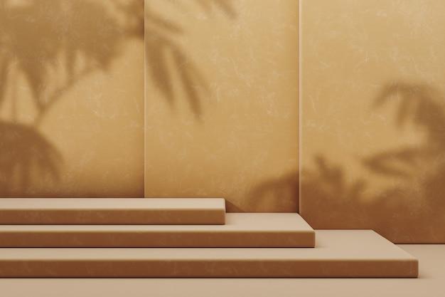 Cosmético minimalista para apresentação do produto, plataforma de três degraus bege para colocar as coisas em um fundo de três camadas bege. renderização 3d