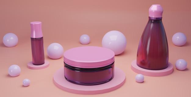 Cosméticos e branding em fundo rosa superfície