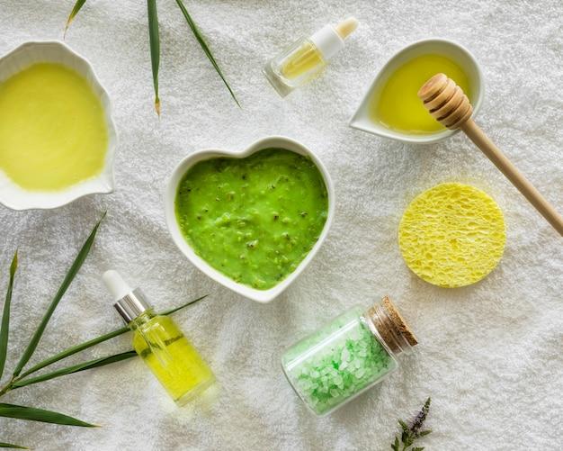 Cosméticos naturais de spa de aloe vera e mel