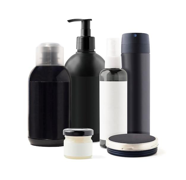 Cosméticos para cuidados do corpo, cabelo e rosto em potes e recipientes pretos. maquete de produtos de higiene para a pele