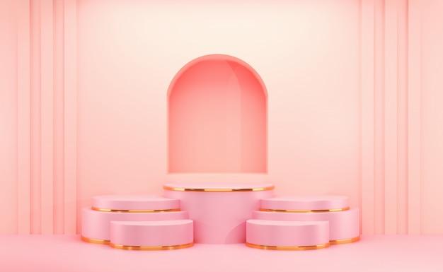 Cosméticos rosa e ouro cenário vazio.