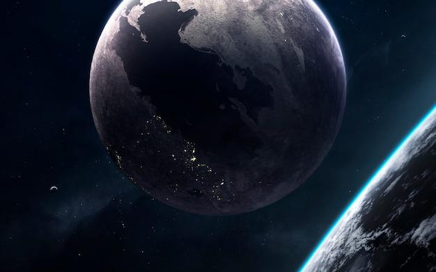 Cosmos inexplorado. papel de parede de ficção científica, planetas, estrelas, galáxias e nebulosas em uma imagem cósmica incrível. elementos desta imagem fornecidos pela nasa