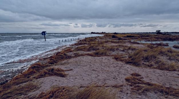 Costa coberta de grama cercada pelo mar sob um céu nublado