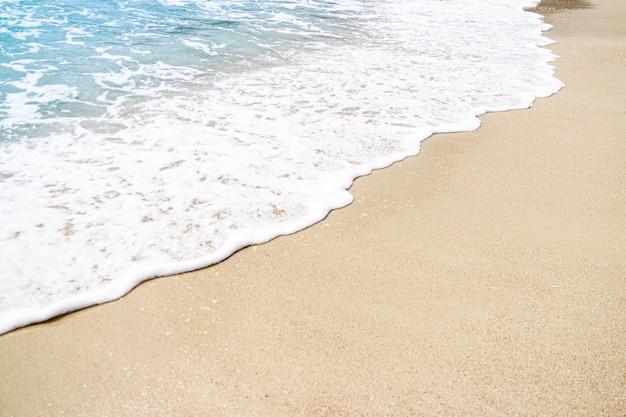 Costa da praia com ondas em dia nublado